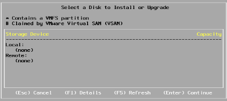 ESXi Installation 1 - Disks missing