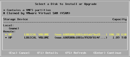 ESXi Installation 2 - Disks available